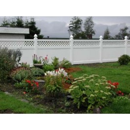 Pack of 2 White Privacy Fence with Lattice - 8ft Wide and 6ft High