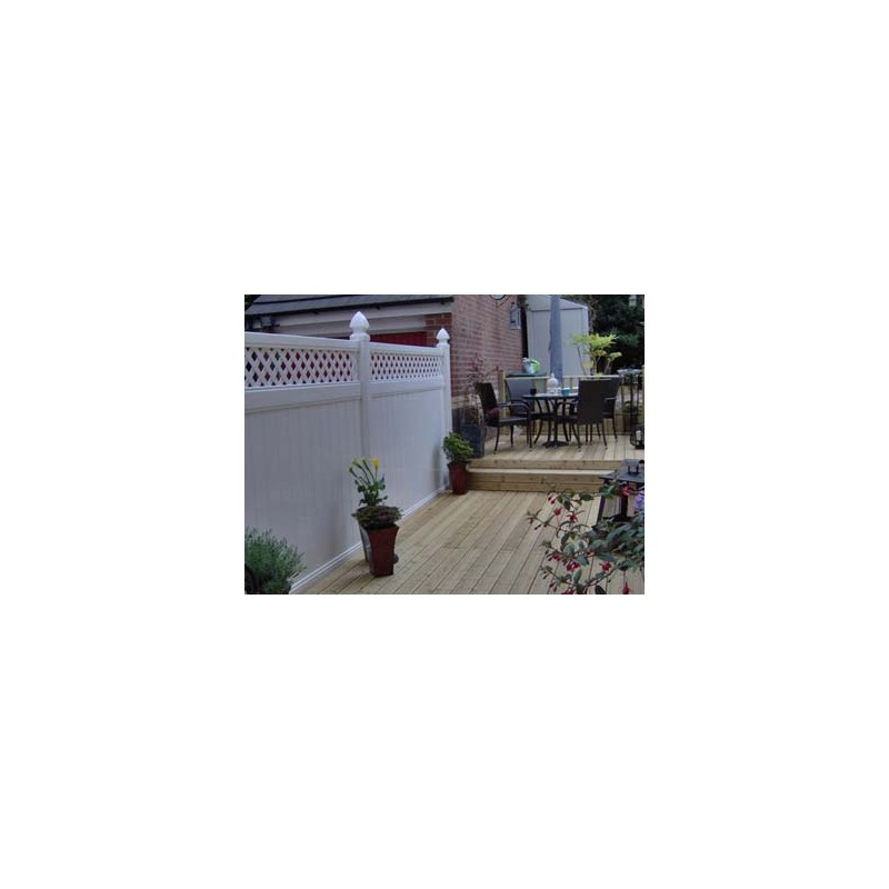 Pack Of 10 White Privacy Fence With Lattice 8ft Wide