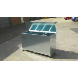 Heavy Duty Wheeled - 4 Compartments Extra Large Galvanised Feed Bin