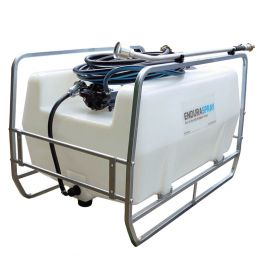300L Skid Mounted Watering Unit - 12V 19L/min with 10m Hose and Garden Nozzle - Blue Tank