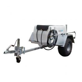 """200L Site Tow Trailer Mounted Water Bowser - 1"""" Pump - 120L/m - Single Axle with 30m Hose and Hose Reel"""