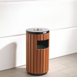 33L Wood Effect Outdoor Litter Bin with Ashtray