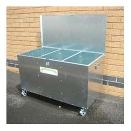 Mobile 3 Compartment SMALL Low Level Horse Cattle Feed Bin Galvanised